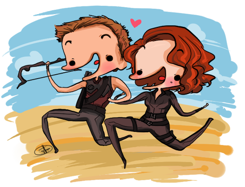 derpyportraitsbyjenn:  Hawkeye + Black Widow as requested by Lettie.