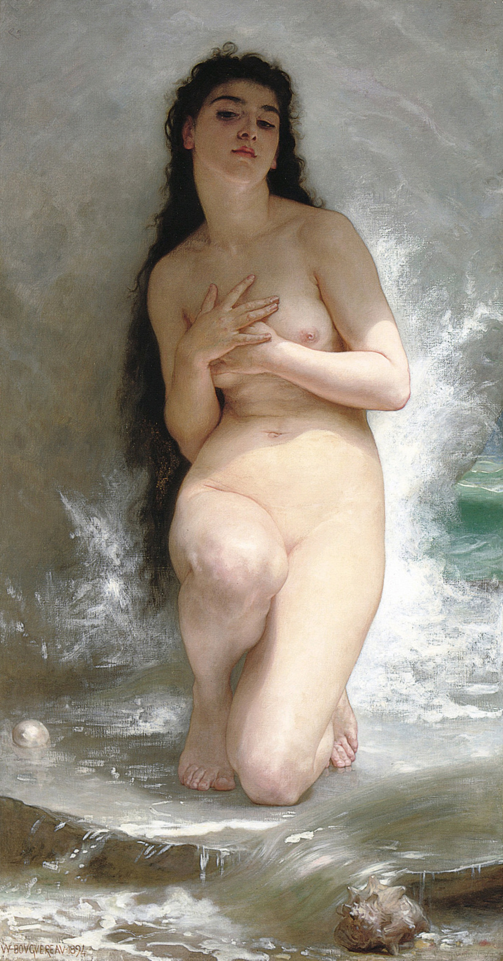 labellefilleart:  La perle, William Adolphe Bouguereau     Bouguereau painted the most beautiful bodies I've ever seen.