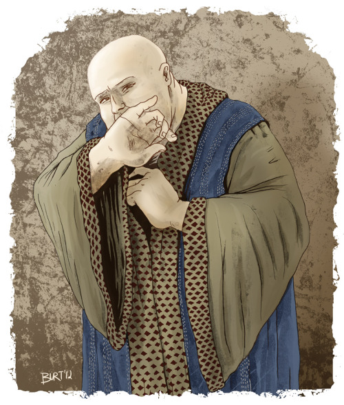 Here's Varys, from the A Song of Ice and Fire series and Game of Thrones on HBO, being all secretive and stuff.