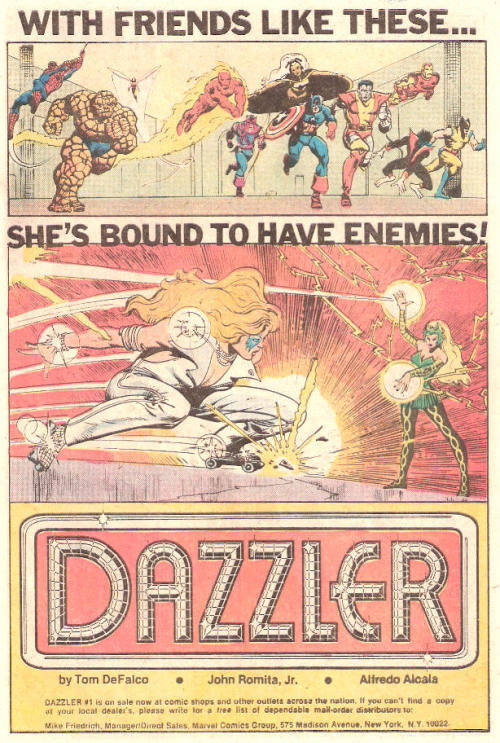 lulubonanza:  Comic Book Ad.  I LOVE Dazzler