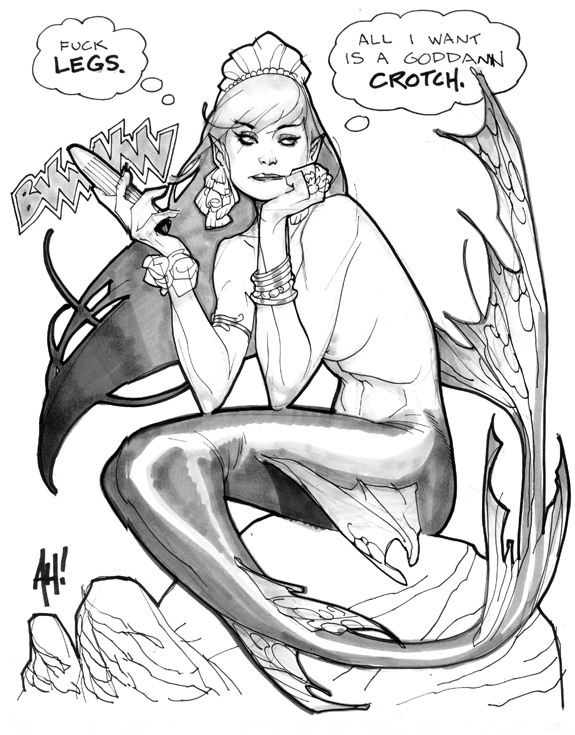 willrepost:  Mermaid by Adam Hughes
