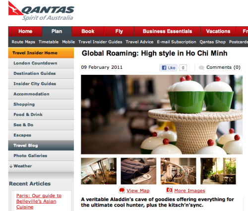 L'Usine was featured on Qantas in February 2011. The full review here.