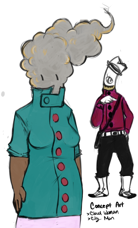 Sigmin the cigman and the unnamed cloud woman finally have colours :v Now cloud woman just needs a name and I'll do proper drawings of them each haha. (Leaning toward Claurice or something. Something with a sss sound at the beginning.)