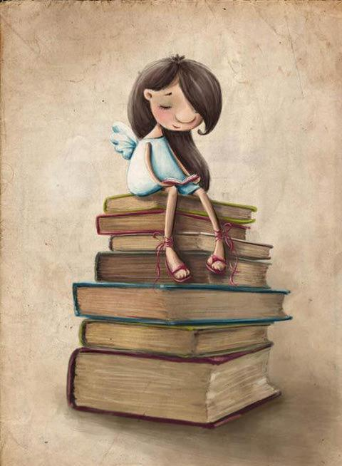Reading angelic / Lectura angelical (ilustración de Elina Ellis)