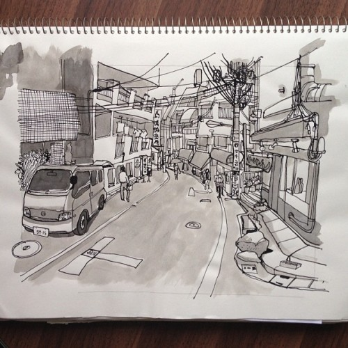 Roppongi Ruckus - An original ink. #superIndiaInk #linedrawing #watercolor #ink #japan #roppongi #chairmanting #illustration #illustrationism #city  (Taken with instagram)