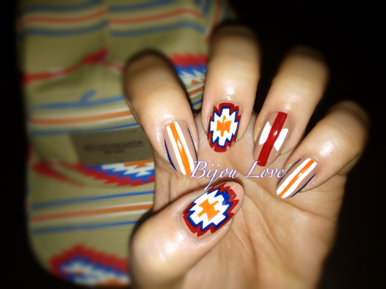 bijoulovebyglow:  31 day nail challenge day 26: inspired by a PATTERN, used the pattern from my fiancé's hat  Wow
