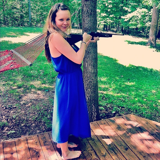 Just a typical Sunday…barefoot momma shooting guns at brunch.  (Taken with instagram)