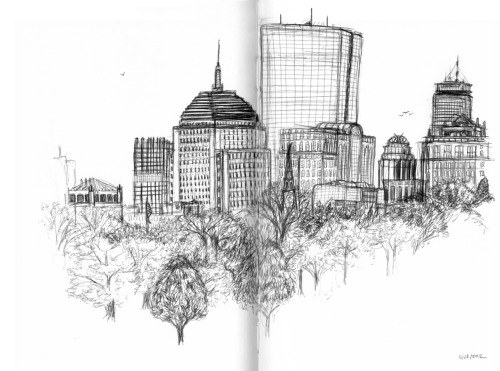 View of the Boston skyline from the Boston Common.  Done in my sketchbook in ballpoint pen, as most of my doodles have been recently.  Gorgeous day today in Beantown!