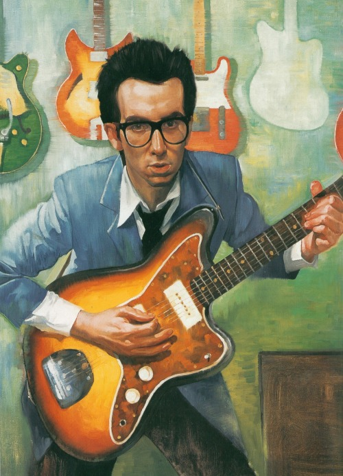 updownsmilefrown:  Elvis Costello illustrated by Roberto Parada