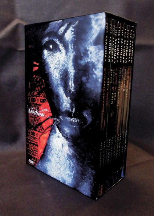 neil-gaiman:  The all-ten-volumes-in-one-slipcase-edition of SANDMAN comes out in November! I'm thrilled. You have no idea how long I've been asking DC to do one of these. (Er, about 16 years.) (Edit to add: lots of questions coming in. I believe it'll be about $199, so the books are cover price but the slipcase is free. Probably cheaper if you buy it at places that discount books. These are the recoloured editions that use the Absolute edition recolouring of the first few books. And last time DC did something like this they also sold the slipcase separately.)