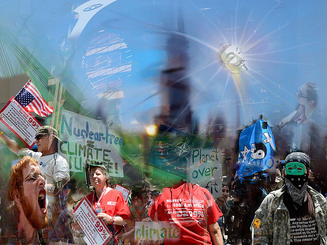 Chicago NATO spin by beartnow on Flickr.Via Flickr: ©2012 Nancy Bechtol.  photo/illustration/artistic render of Chicago NATO on location experience. Daley Plaza.packed. while NATO Summit begins….here at the March/rally  thousands..at National Nurses United Rally. planet over profit, Heath Care. Nurses Care—Heal America. Occupy Chicago cares.. Busloads arrived from all over the US to join in, make the statement. loud and clear.