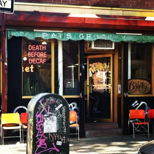 Death Before Decaf. At vegan bakery (yeah, yeah) Champs, in Williamsburg.