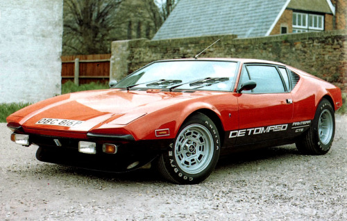crownofdestruction:  DeTomaso Pantera  Elvis Presley once fired his gun at his Pantera when it wouldn't start. This is also the type of car that hockey player Tim Horton died in. Made in Italy but underneath the hood everything is Ford.