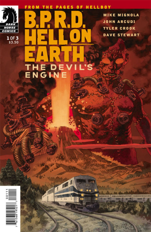 "B.P.R.D. Hell on earth: The devil's engine #1 by Mike Mignola, John Acurdi, Tyler Crook and Dave stewart. Cover By Duncan fegredo and Dave Stew. The colors here are just perfect. The train, the volcano and the weird dude are in ""harmony©"". Watercolors rock. the codebar is a shameful shame."