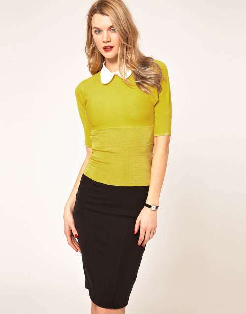 Karen Millen Jumper With Contrast CollarMore photos & another fashion brands: bit.ly/JgPkb5