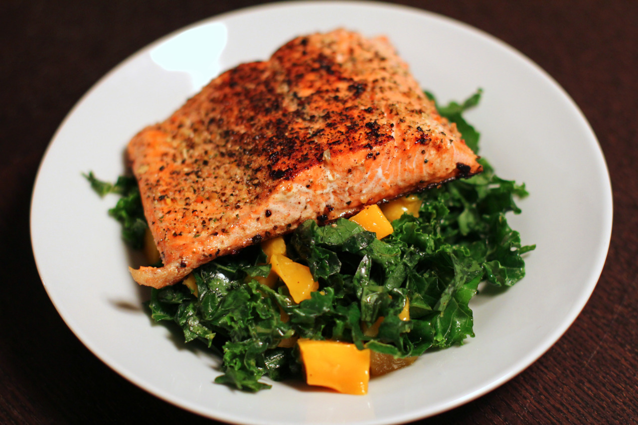 Sauteed Salmon with Mango Kale Salad Long time no update! So.. I started a diet. I'm about 5 days into the diet and I'm eating the same foods over and over again because it's easier to stay on track that way (for me at least). So hence me not having much updates.  If I have too much variety, I'll want to eat and eat and eat!  I'm actually surprised at how much weight I've lost so far, even though I know that it's mainly just water weight. But just to see the numbers on the scale change is very uplifting! It's very motivational and it keeps me going knowing that I can do it. So yay!  This was a dish I made one night, just a salmon filet ontop of one of my favorite salads. You can cook the salmon anyway you like using your favorite recipe. But this salad freaking rocks. I got the recipe from Aarti on the Food Network. I watched her since the beginning of the Next Food Network Star about two seasons ago. I normally don't watch this show, but since there was sort of a connection to someone who was 3rd place on the show, I started watching. Anyways, I've made this salad a few times now and I freaking love it! It's one of my favorite salads and the best thing about this salad is that the longer the salad sits over the course of a day or two, the better it becomes. The lemon juice helps to soften the kale and the flavors end up blending together so nicely. It's a very light and simple salad.  It's quick to put together and your hands will get a little messy because you'll want to massage the kale and the lemon juice together.  The first day tastes great.  The second day tastes better.  The third day EVEN BETTER! The Mango Kale Salad recipe was from the Food Network Show Aarti Party.  My changes are italicized.    Ingredients 1 bunch kale (black kale is especially good), stalks removed and discarded, leaves thinly sliced 1 lemon, juiced 1/4 cup extra-virgin olive oil, plus extra for drizzling Kosher salt 2 teaspoons honey Freshly ground black pepper 1 ripe mango, diced small (about 1 cup) (I like a lot of mangoes in this salad, so I probably used about 4 small ones, change the quantity of this anyway you like depending on your tastes) Small handful toasted pepitas (pumpkin seeds), about 2 rounded (I didn't have any on hand so I didn't include this this time.  But you can just as easily add almonds, or walnuts to this salad and it works really well) Directions 1.  In large serving bowl, add the kale, half of lemon juice, a drizzle of oil and a little kosher salt. Massage until the kale starts to soften and wilt, 2 to 3 minutes. Set aside while you make the dressing. 2.  In a small bowl, whisk remaining lemon juice with the honey and lots of freshly ground black pepper. Stream in the 1/4 cup of oil while whisking until a dressing forms, and you like how it tastes. 3.  Pour the dressing over the kale, and add the mango and pepitas. Toss and serve. This is so good, you'll have to eat it to believe it.