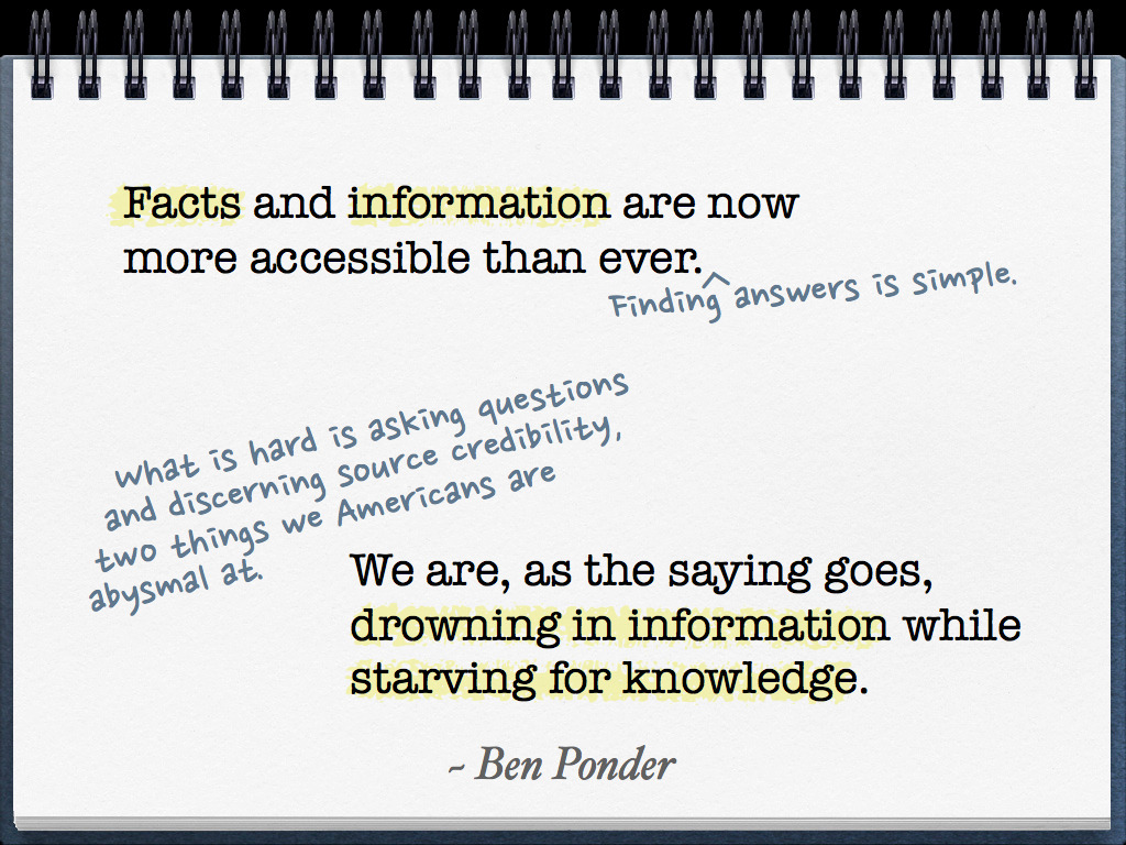 """Facts and information are now more accessible than ever. Finding answers is simple. What is hard is asking questions and discerning source credibility, two things we Americans are abysmal at. We are, as the saying goes, drowning in information while starving for knowledge."" ~ Ben Ponder"
