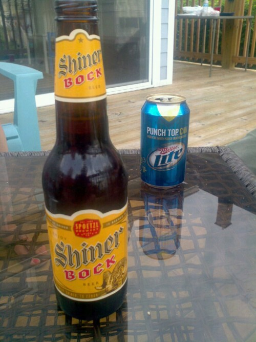 Shiner Bock.   Chocolate overtones.  Good for twist off.  2.5 caps.