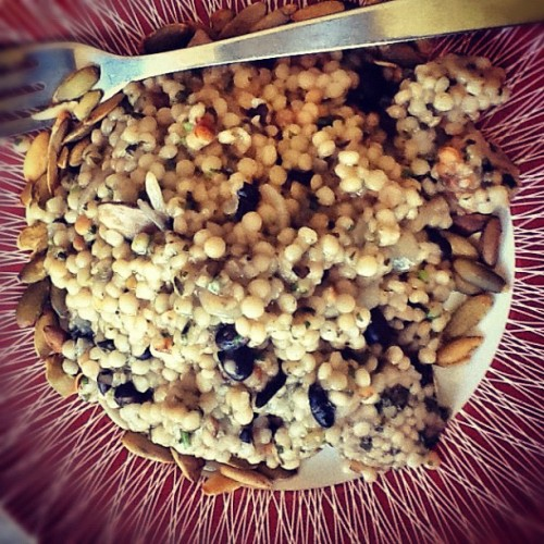 Israeli couscous in fish broth, veggies. (Taken with instagram)