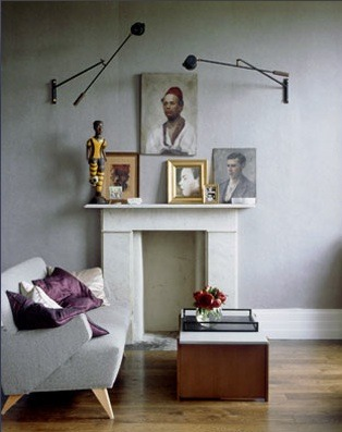 Source: Paul Massey Photography  Soft Grey walls and more swing arm pendant lights. Love. You can get them here.