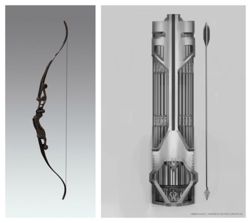 chickadee-chick:  Concept art of Hawkeye's arrows, quiver, and bow by Fabian Lacey.  UNF.  Also, Hawkeye Ironman Disabler!?!?! Can't say that SHIELD isn't always prepared…