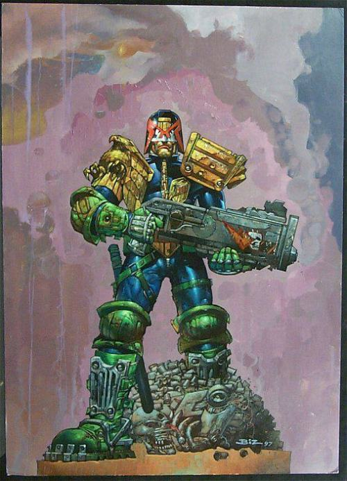 Simon Bisley back on Judge Dredd  2000adonline:  As good an excuse as I can find to drop in the big news - Simon Bisley will be back on Dredd:  Back in March I posted a link from ComicsAlliance about how how IDW was going to print a new line of Dredd stories and that they were interested in talking to Biz about returning to the character. As it turns out, they were very interested… SimonBisleyArt can confirm that Biz will be painting a subject-unconfirmed Judge Dredd cover for an upcoming 2000AD issue. He's very excited to be invited back to the house of Tharg and is looking forward to the August 2012 deadline! Excited doesn't really cover it…  (thanks to The Intense Art of Simon Bisley for the tip and to Biz for being good enough to confirm it!)