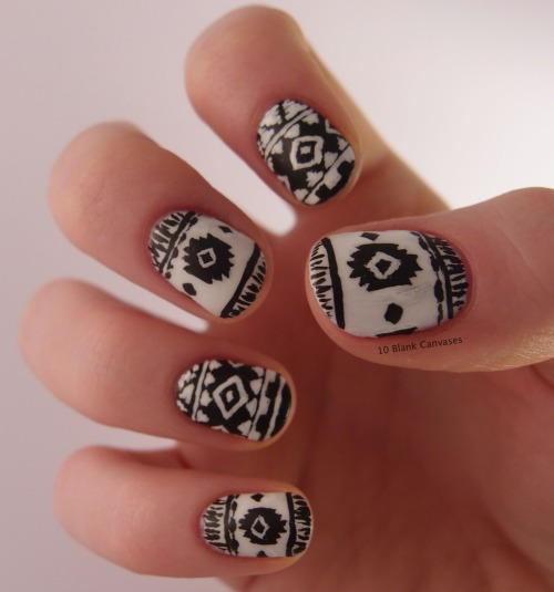 Aztec nails based on this shirt