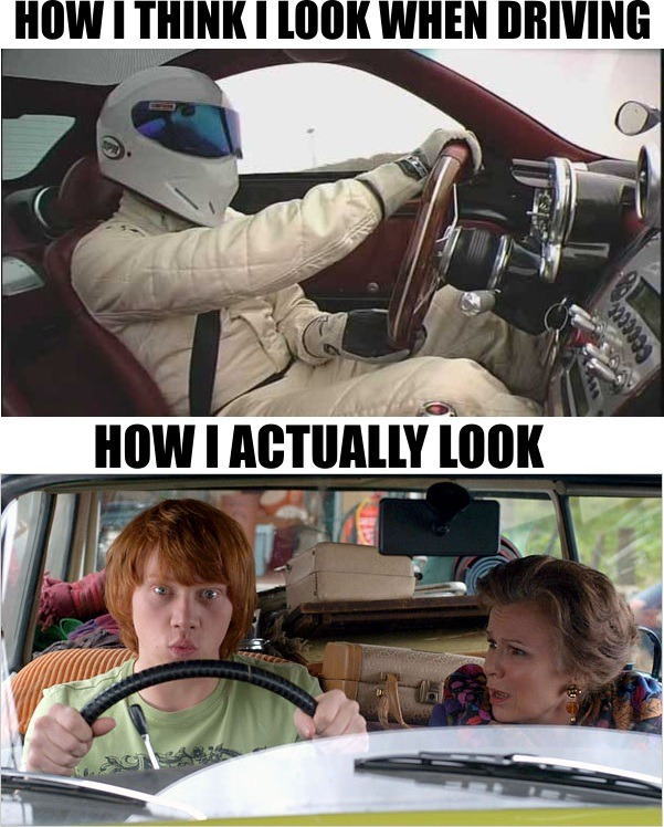 Car Humor Meme: How I think I look while driving v. How I actually look. Ha! - Vinyl Decals  thatguysharrad:  I will now drive with my windows up and tinted from now on