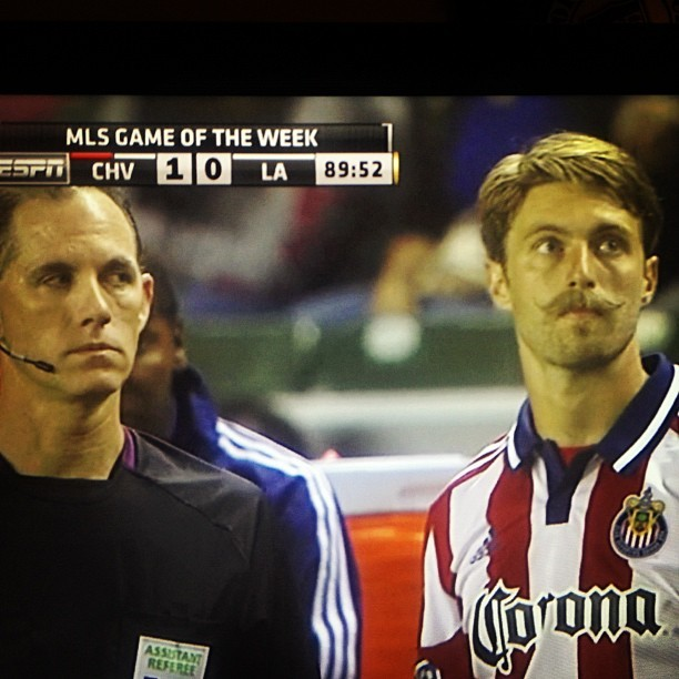 lucky-harms:  This mustache happened last night. Chivas v. La Galaxy. No one can be sure what irreversible damage it did to the Galaxy's mental state, though I have it on no authority that Becks was devastated someone had a better mustache than he did.