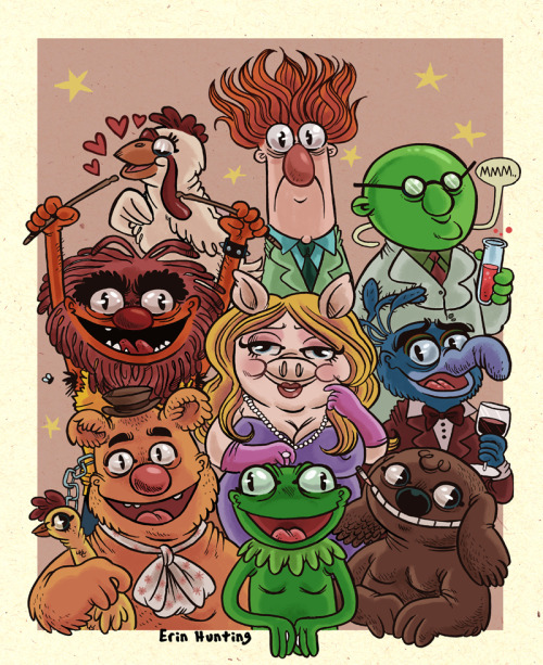 I like what's going here with Erin Hunting's Muppets. Kermit's wall-eyed stare works for me.