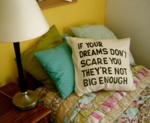 DIY Stenciled Dream Quote Pillow Tutorial from Thrifty College House.