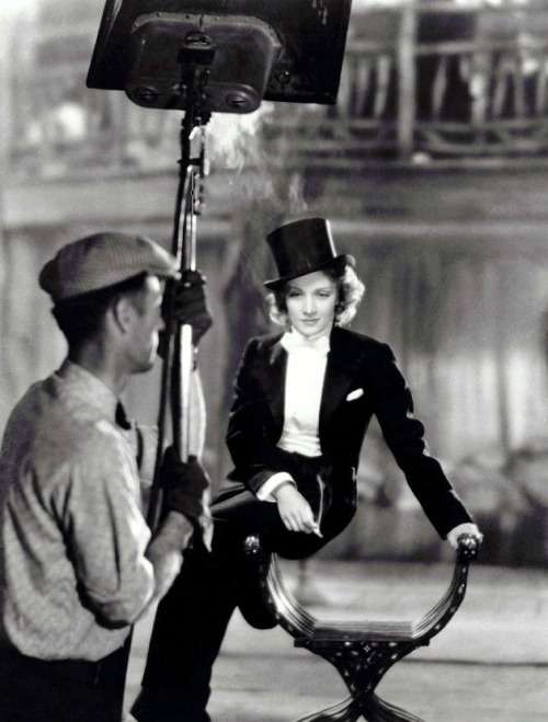 """I am, at heart, a gentleman."" -Marlene Dietrich (photographed on the set of Morocco, 1930) (via)"