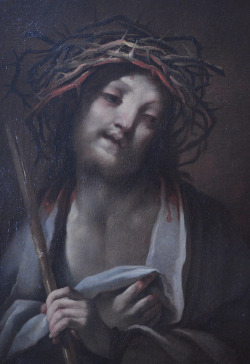 "Italian Old Master Painting ""Christ as the Man of Sorrows"" by Andrea Lanzani 1645-1712"