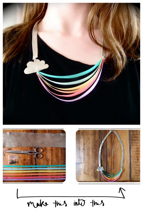 truebluemeandyou:  DIY Cloud an Rainbow Ribbon Necklace Tutorial. This would also make such a sweet little girl's necklace. Tutorial from Clones 'N' Clowns here.