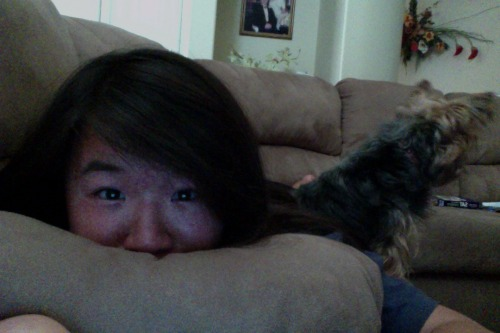 just chillin' with my dog on the couch. 