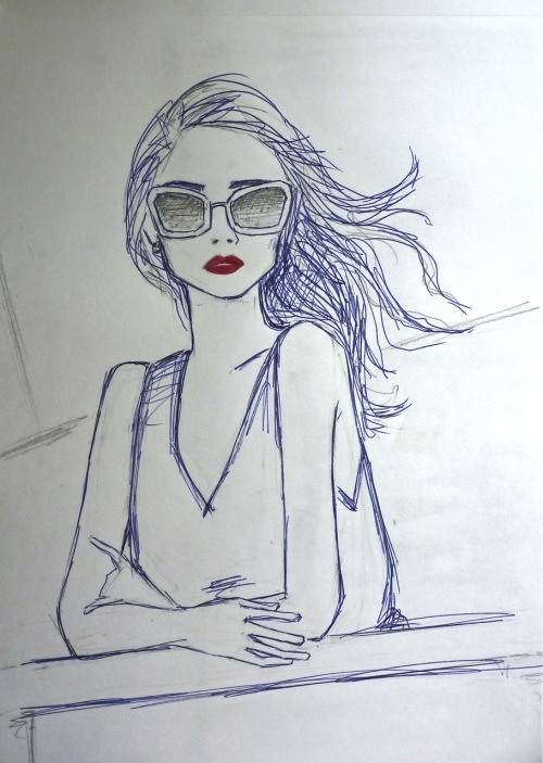 Ballpoint pen, pencil and a tiny tiny bit of acrylic. Drawing sunglasses are easier than drawing eyes.