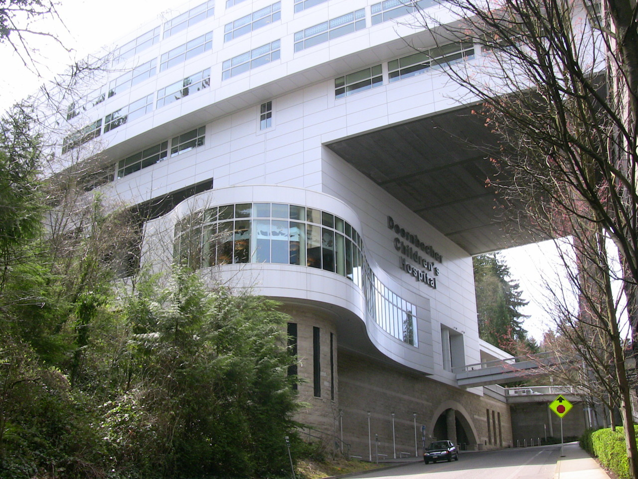 The Doernbecher Children's Hospital, built over a canyon on the OHSU campus.