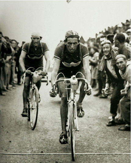 hm7:  Fausto Coppi & Gino Bartali Cross The Line by spoke sniffer on Flickr.