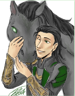 instant-rhapsody:  Mother and Son moment. <3 Loki and Sleipnir.