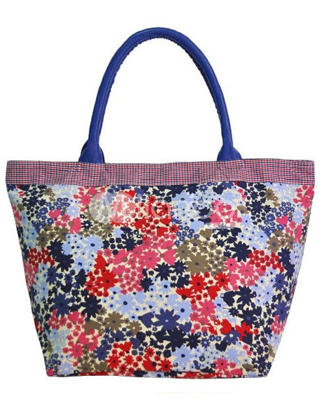 Multi-Color Floral Zip Closure Canvas Womens Tote Bag :  floral zip canvas tote bag