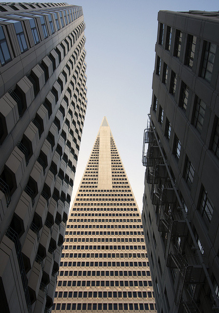 pyramid risingtransamerica building viewed down merchant street or mark twain plaza. san francisco.