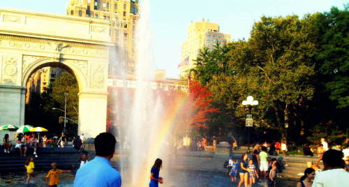washington square park. i was incredibly lucky i managed to catch that rainbow. i was worried it wouldn't show up on my crappy camera phone. it was a lovely day.