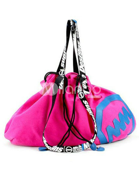 Color Block Drawstring Pattern Canvas Womens Shoulder Bag