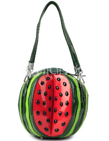 Cute Green Watermelon Pattern PU Womens Shoulder Bag :  cute watermelon pu green
