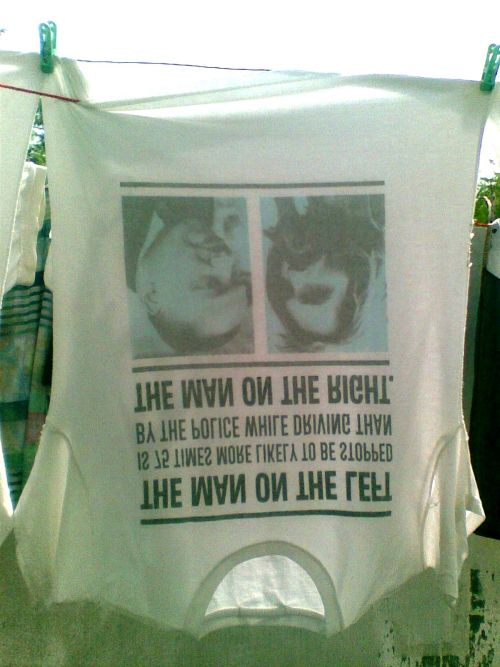 My brother's wet, Martin Luther King t-shirt, hang to dry.