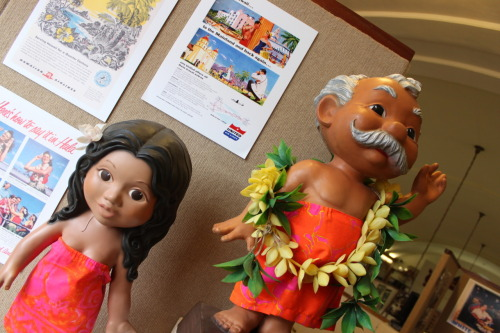 Aloha from the Kauai Museum! These Menehune of Hawaii were used as a promotional tool for United Airlines. These two menehune (think Hawaiian leprechauns) are on display at the Kauai Museum as part of an exhibit highlighting the history of tourism on island.