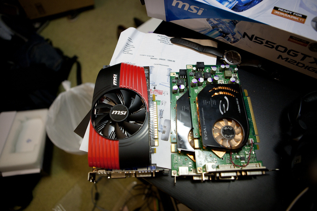 Decided to go with the cheapo MSI 550GTX I got at work for $80… this replaced my old EVGA 7950 SLI setup.. lol