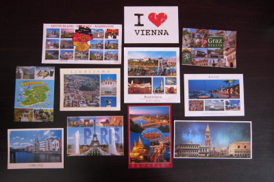 These are the different postcards I got from my friend who went on a Europe tour. :>