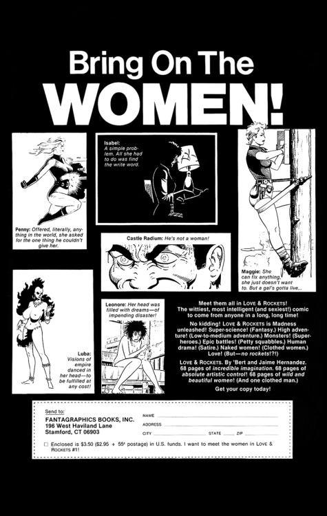 Promotional ad for Love and Rockets #1 by Jaime Hernandez & Gilbert Hernandez, 1982.