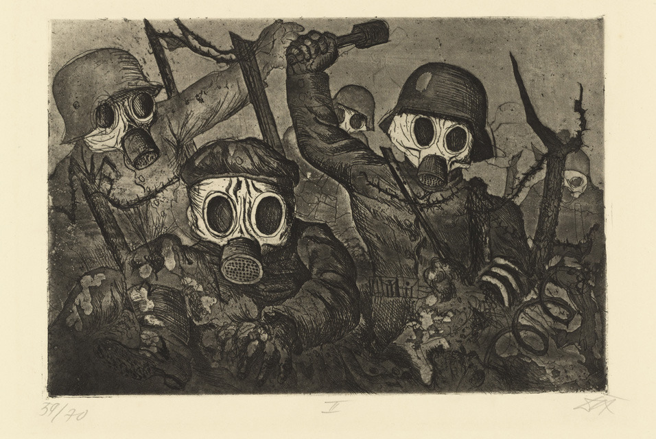 Otto Dix; Shock Troopers Advance under Gas. (1924)